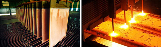 Smelting, Electrorefining and conversion of base metals into LME grade products.